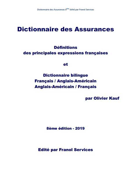 Publication de la 8ème édition (2019) du dictionnaire des assurances