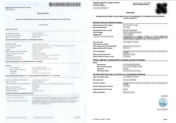 L'extrait Kbis la carte d'identité Les formalités des entreprises