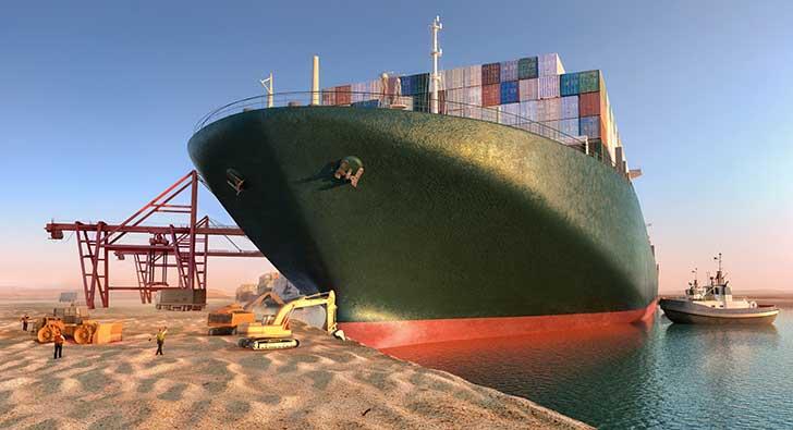 Le trafic a repris dans le canal de Suez apr�s la remise � flot de l�Ever Given